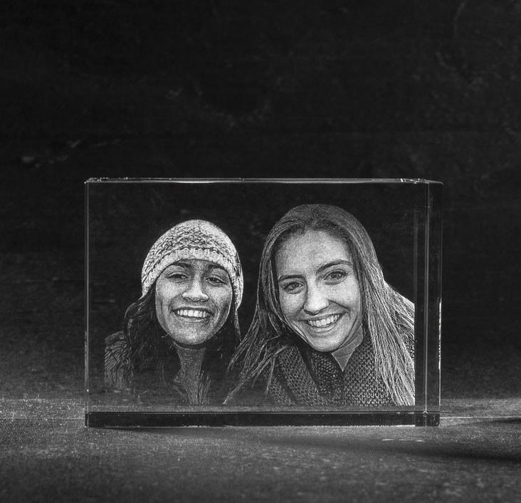 3D Foto in Glas - Kristal Blok met 2 portretten