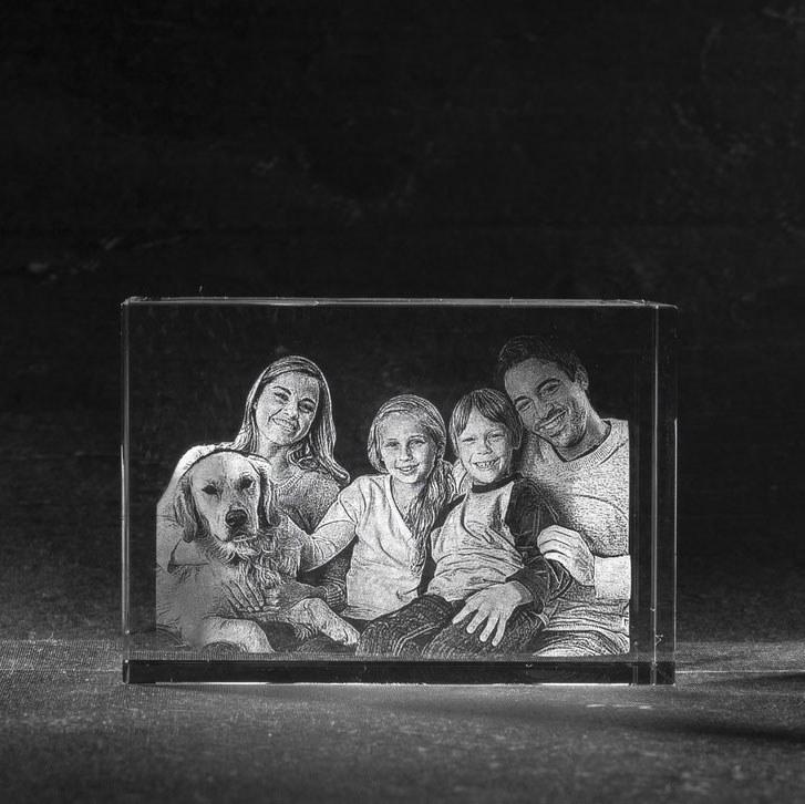 Foto in glas - 3D Kristal Blok 80 met > 2 portretten