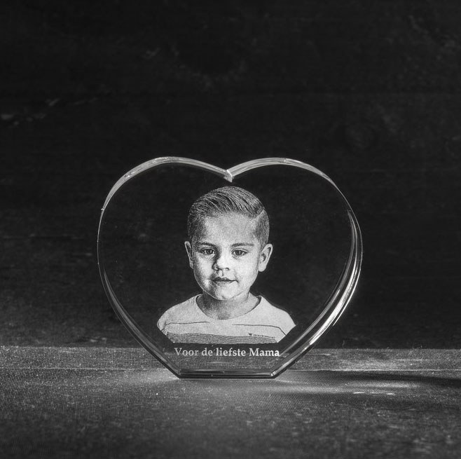 Foto in glas 3 D Hart Mama
