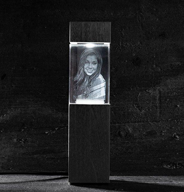 Foto in glas LED verlichting Zuil staand blok 90