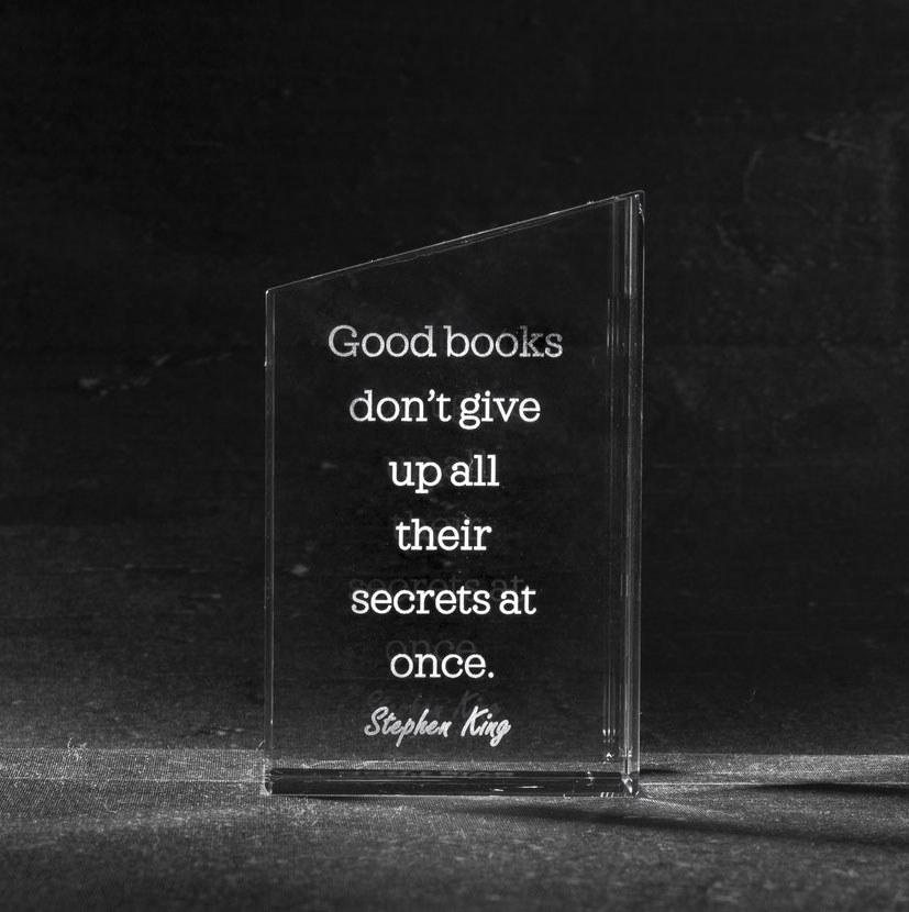 Foto in glas books boekensteun